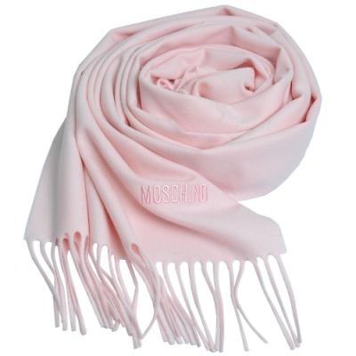 MOSCHINO 義大利製美麗諾羊毛字母LOGO刺繡寬版羊毛披肩/圍巾(粉紅色)