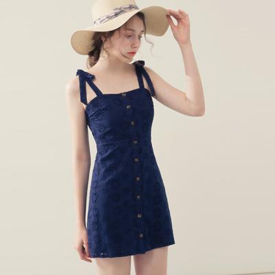 AIR SPACE 蝴蝶綁帶修身蕾絲短洋裝(藍)