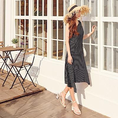 IREAL不規則裙襬條紋背心洋裝