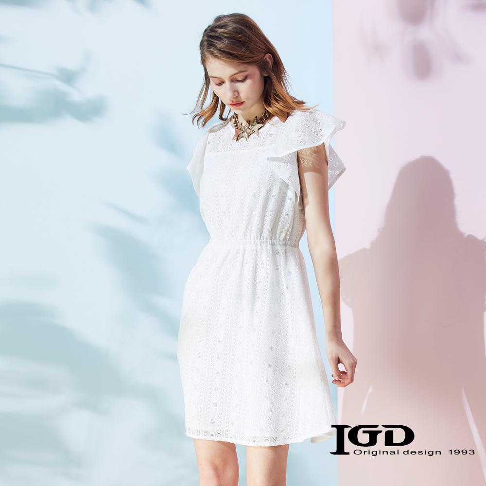 IGD英格麗 鏤空蕾絲荷葉袖洋裝-白色