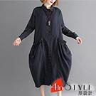 文青風細條紋拼接口袋洋裝 (黑色)-4inSTYLE形設計
