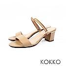 KOKKO - 簡單生活線條感真皮高跟涼鞋 - 焦糖奶