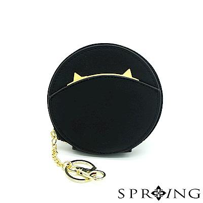 SPRING-貓圓形零錢包-黑喵喵