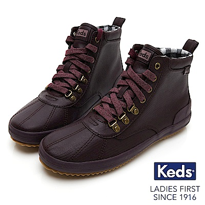 Keds SCOUT BOOT 華麗斜紋布綁帶休閒防潑水靴-酒紅