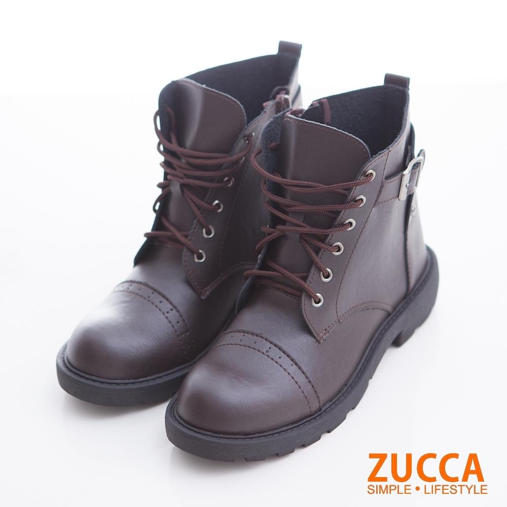 ZUCCA-率性抽繩側拉鍊軍靴-駝-z6729lc