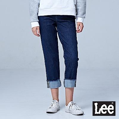 Lee 411高腰標準合身小直筒牛仔褲/UR-中深藍