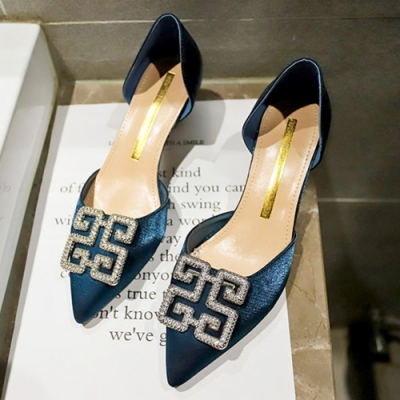 KEITH-WILL時尚鞋館 韓國設計時尚百搭水鑽細跟鞋-藍
