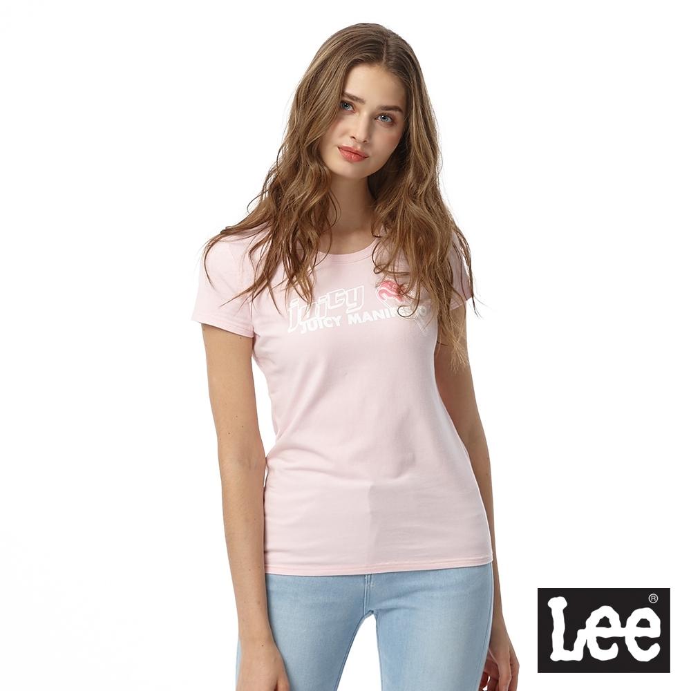 Lee 短T 冰棒JUICY印花圓領 女 粉紅 彈性