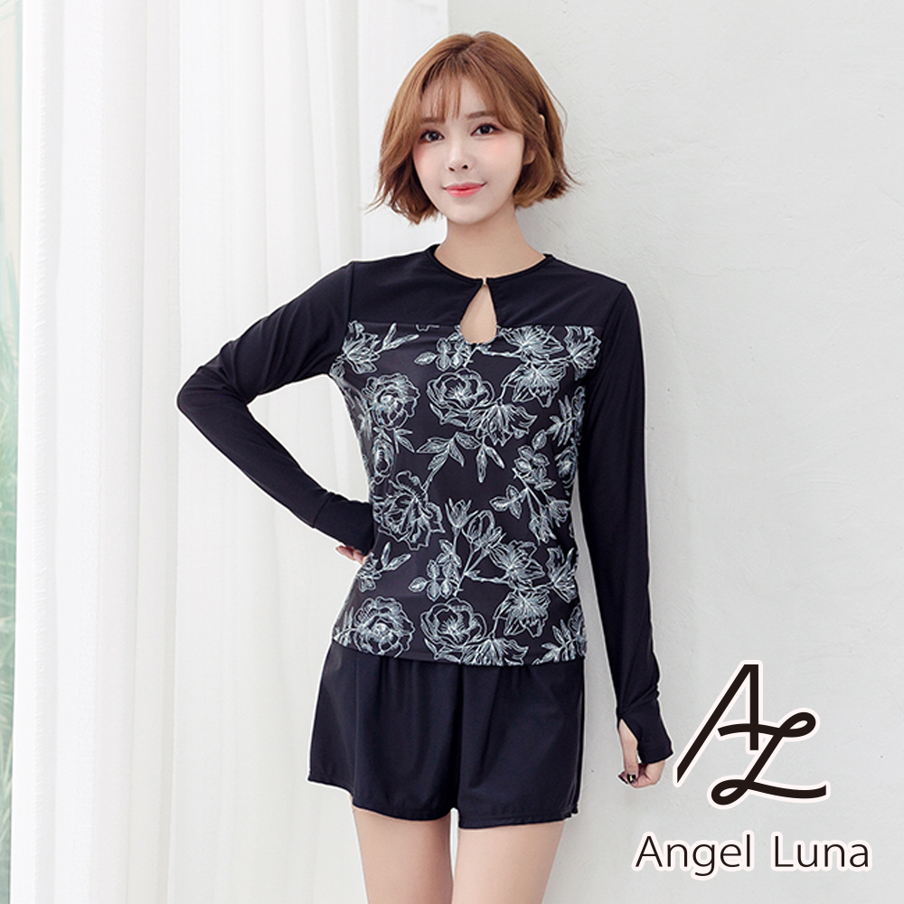 【AngelLuna日本泳裝】黑色拼接印花水母衣四件式比基尼泳衣