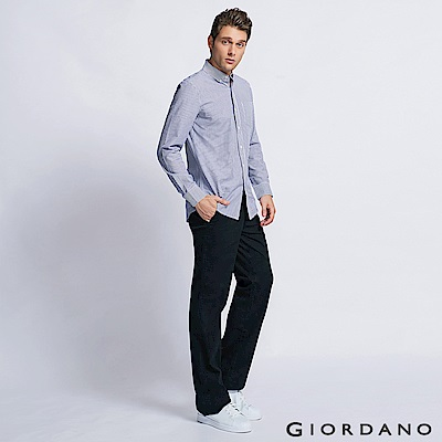 GIORDANO 男裝中腰基本款彈性直筒休閒褲 - 09 經典黑