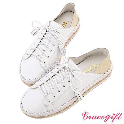 Grace gift X Wei唐葳-全真皮流蘇麻繩厚底休閒鞋 白金