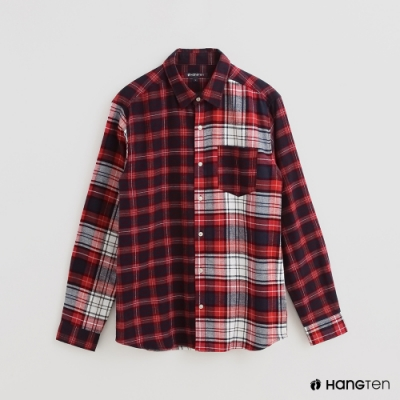Hang Ten - 男裝 - 雙面配色格紋造型純棉襯衫 - 紅