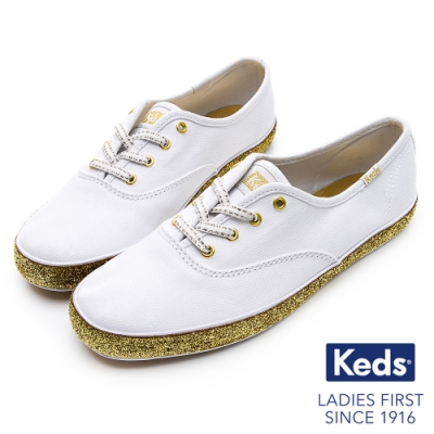 Keds CHAMPION 金蔥滾邊帆布綁帶休閒鞋-白/金