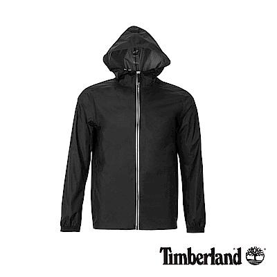 Timberland 男款黑色輕薄款可收納連帽外套|A1OKH