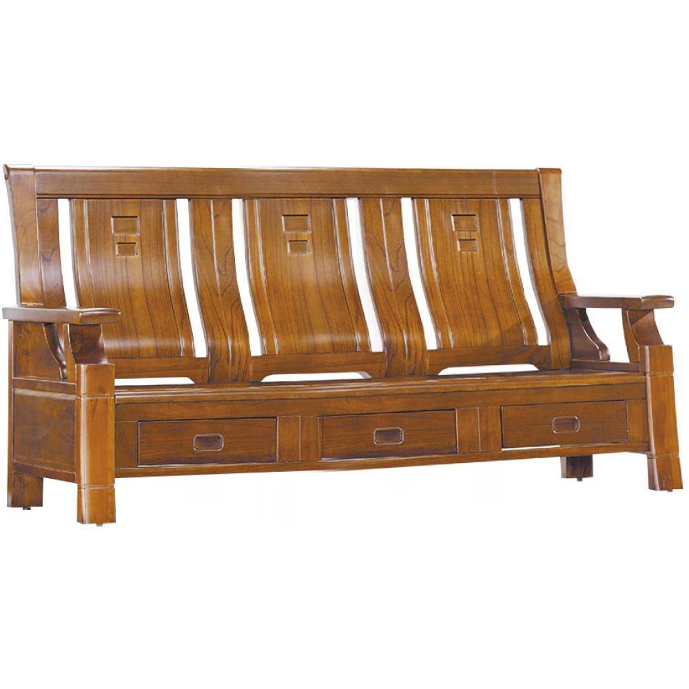 綠活居 威尼典雅風實木三人座沙發椅(三抽屜設置)-191x77x102cm免組 @ Y!購物
