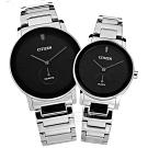 CITIZEN 情人對錶 簡約時尚 日本機芯 不鏽鋼手錶-黑x銀/42mm+34mm