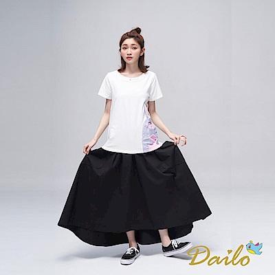 Dailo INLook 純棉前短後長不規則長裙(黑色)