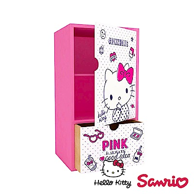 Hello Kitty 凱蒂貓直立式磁釦拉門單抽櫃 桌上收納 文具收納 飾品收納