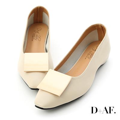 D+AF 品味美感.大方金釦內增高包鞋*米