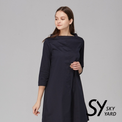 【SKY YARD 天空花園】簡約一字領七分袖洋裝-深藍