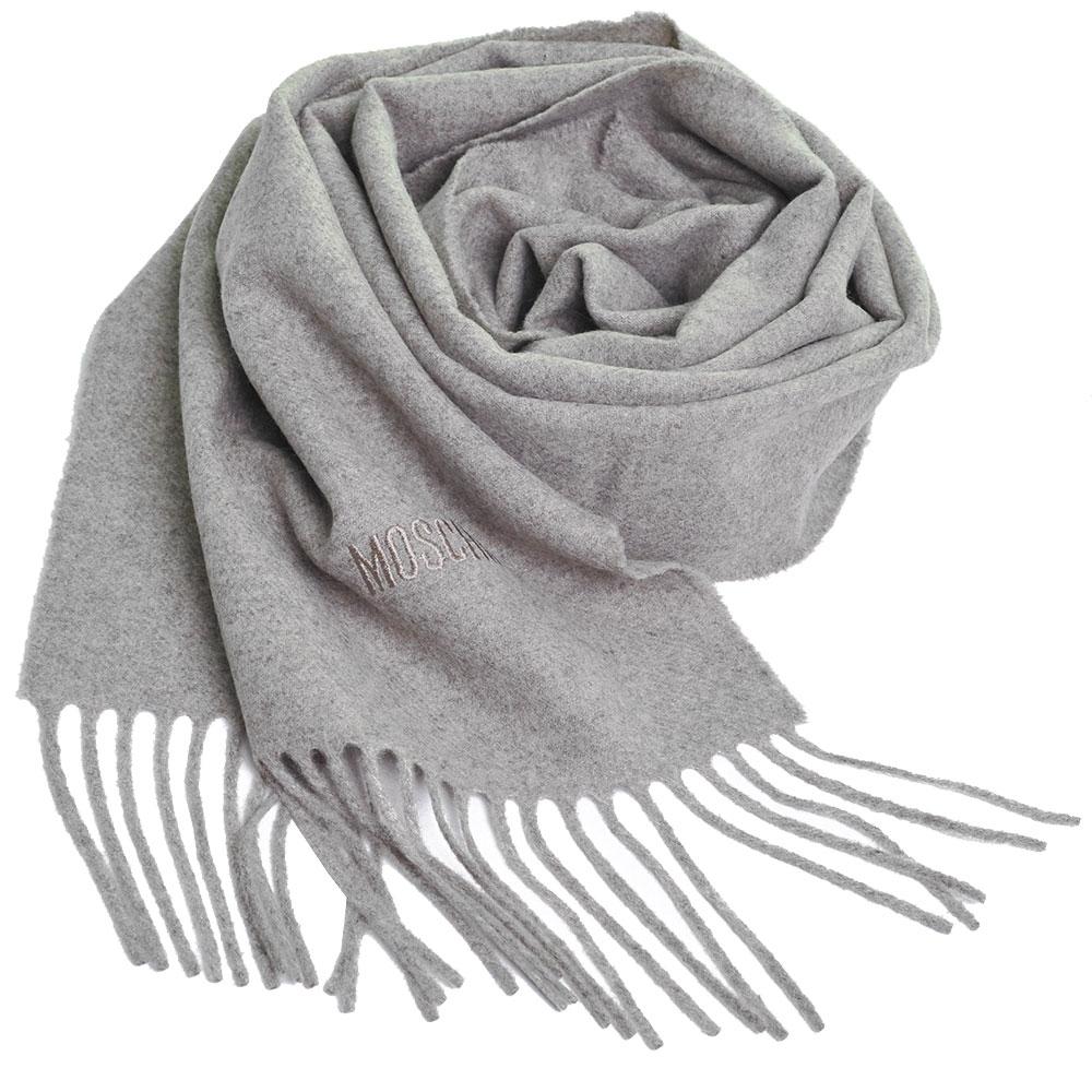 MOSCHINO 義大利製美麗諾羊毛字母LOGO刺繡高質感羊毛圍巾(麥芽色)