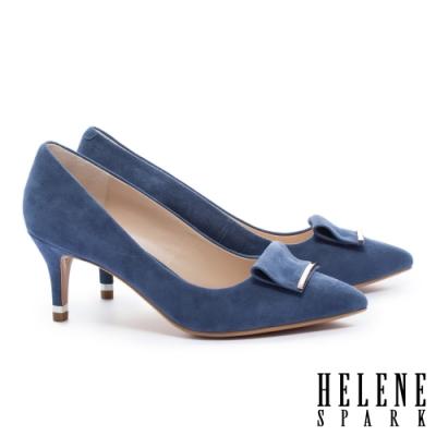 高跟鞋 HELENE SPARK 金屬風反折帶釦羊麂皮尖頭高跟鞋-藍