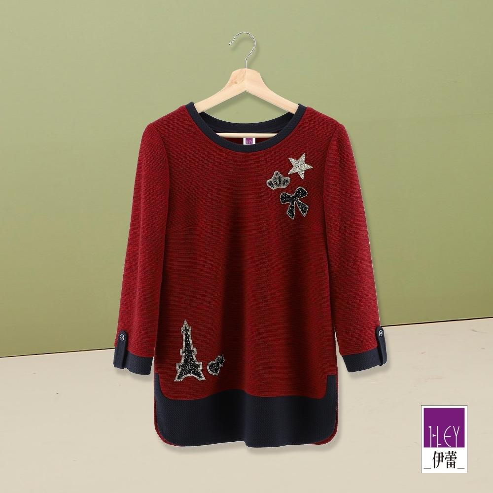 ILEY伊蕾 典雅鑲鑽異材質拼接長版上衣(紅)