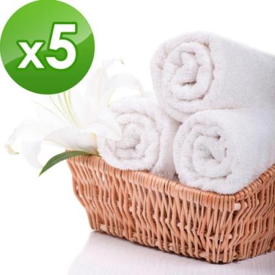 花季 優雅生活-五星級飯店御用白色平織方巾 5件組