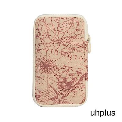 uhplus 夾心收納包-世界地圖(粉)