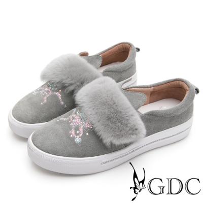 GDC-貴婦絨毛水鑽真皮小貓厚底休閒鞋-灰色