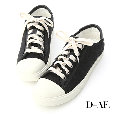 D+AF 青春年代.異材質拼接帆布休閒鞋*黑