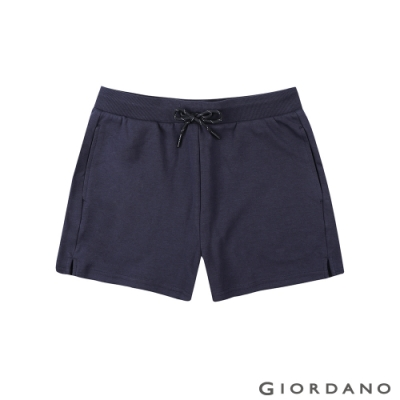 GIORDANO  女裝G-MOTION抽繩素色運動短褲-66 標誌海軍藍