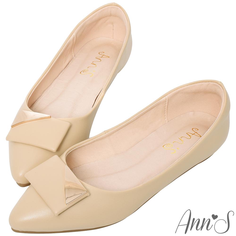 Ann'S平日禮儀-設計感方扣尖頭平底包鞋-杏