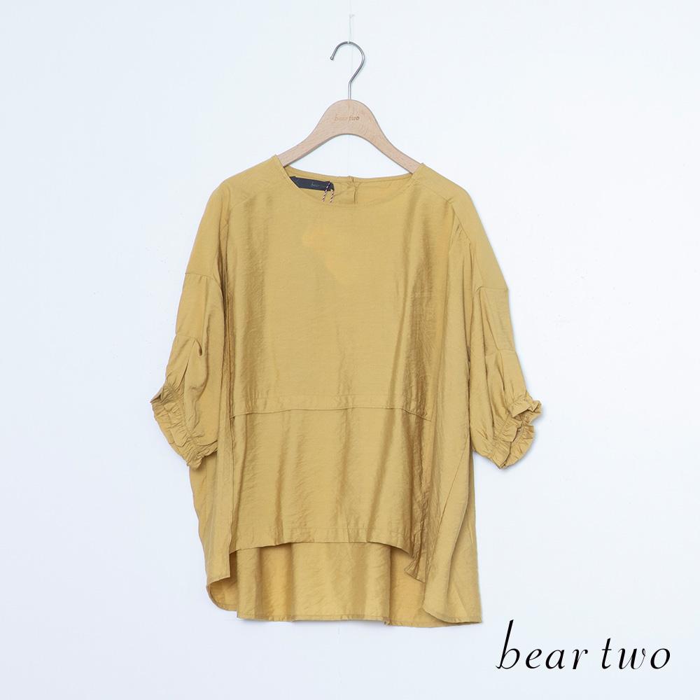 beartwo 簡約花邊袖素面前短後長上衣(二色)
