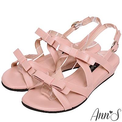 Ann'S雙層甜美蝴蝶結小坡跟涼鞋-粉