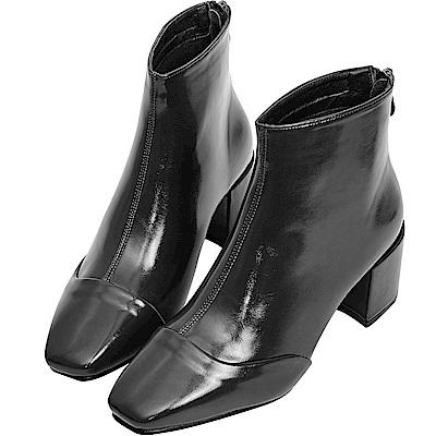 AIR SPACE 素面亮漆粗跟中筒靴(黑)