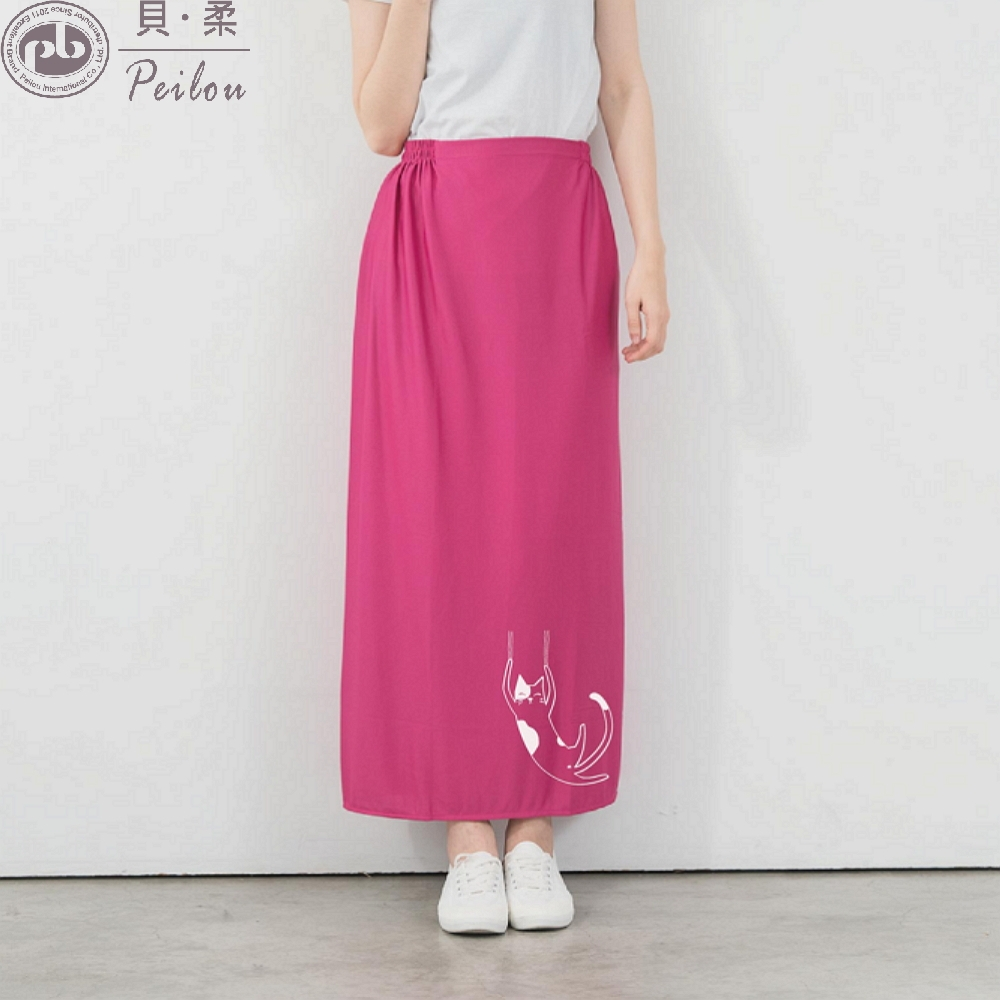 貝柔貓日記高透氣防曬遮陽裙-任選(2件組) (桃紅色)