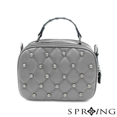 SPRING-鉚釘方格包 優雅灰