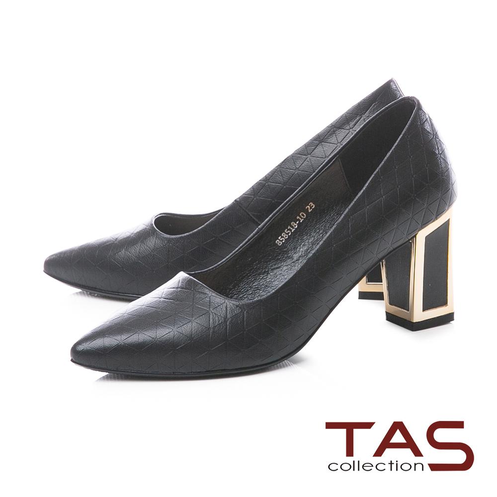 TAS三角壓紋金屬滾邊後跟尖頭高跟鞋-經典黑