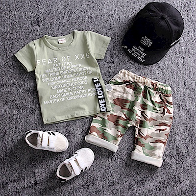 JoyNa 童裝短袖襯衫軍綠迷彩套裝