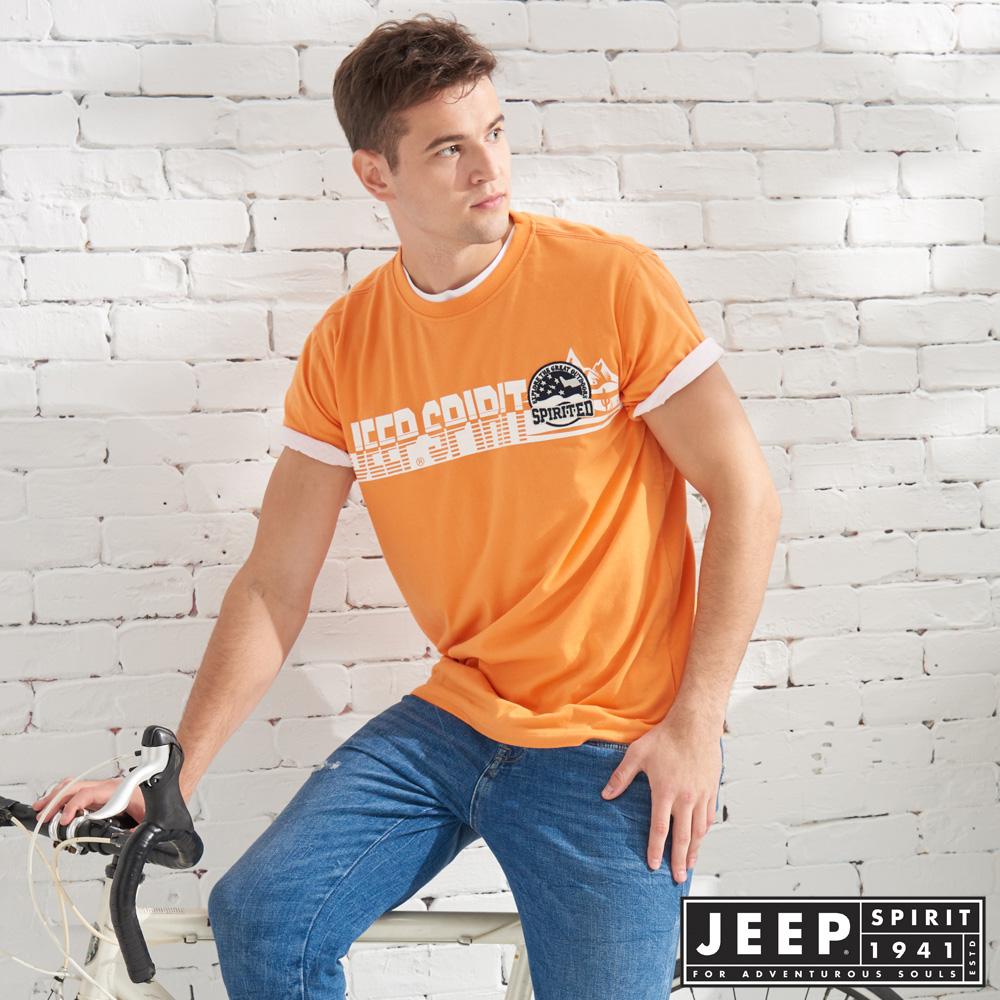JEEP 造型文字轉印短袖TEE-橘色