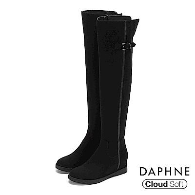 達芙妮DAPHNE 膝上靴-個性圓頭顯瘦內增高膝上靴-黑