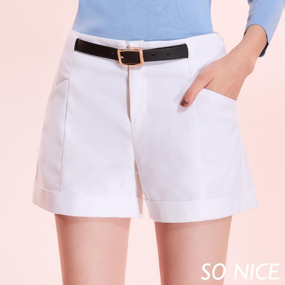 SO NICE時尚腰帶反褶造型錦棉短褲 product image 1