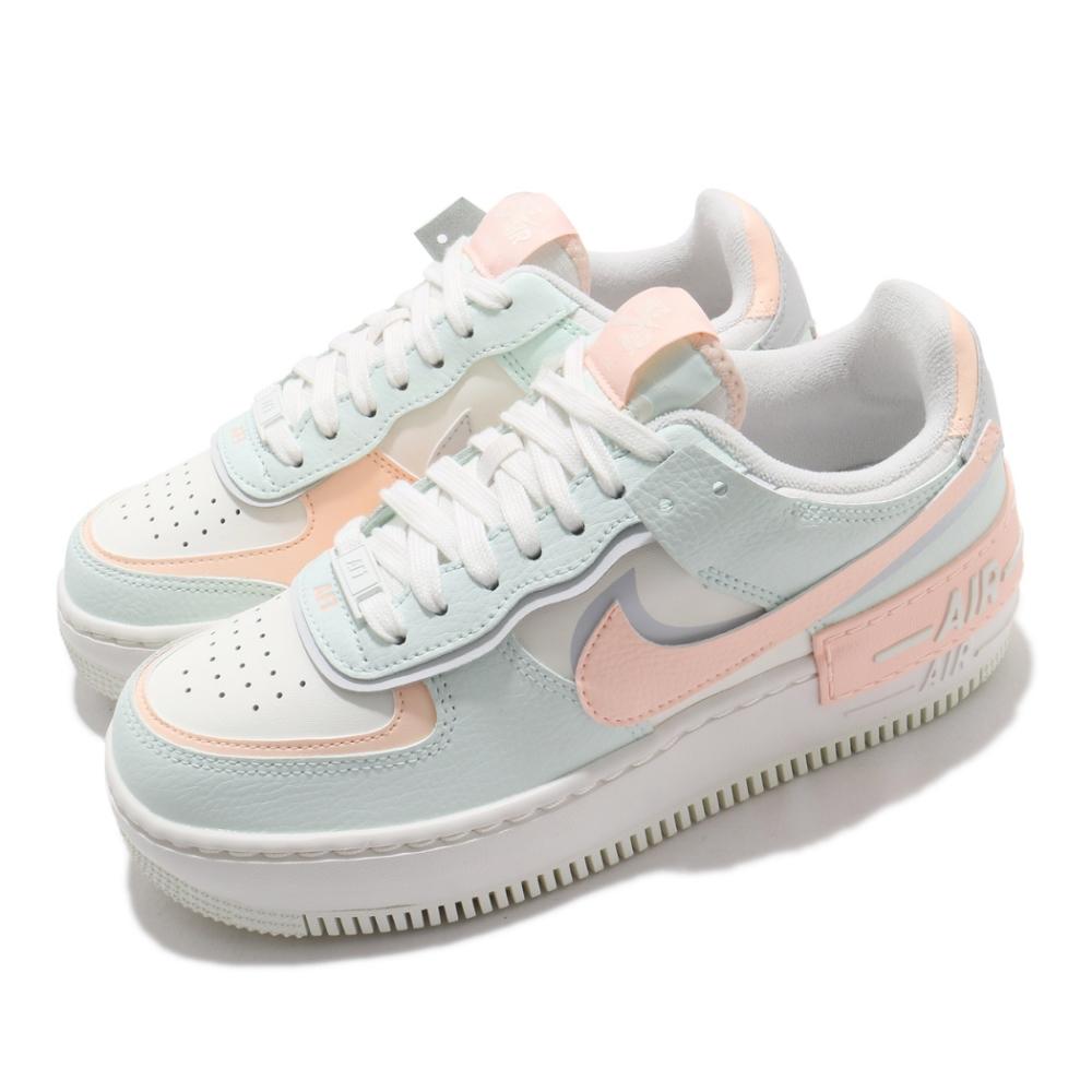 Nike 休閒鞋 AF1 Shadow 運動 女鞋 經典款 舒適 皮革 簡約 厚底 穿搭 綠 粉 CU8591104