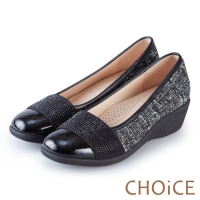 CHOiCE Q軟舒適優雅質感 牛皮拼接布面水鑽坡跟鞋-白黑