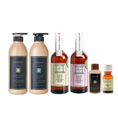 [雙12限定]Parfum 巴黎帕芬 香氛精油洗髮精X2+經典香水護髮油X2(贈120ml洗髮精+10ml髮油)