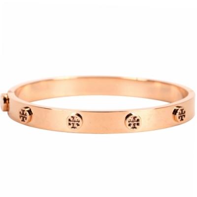 TORY BURCH Logo Stud Hinge 玫瑰金雙T盾牌鉚釘黃銅手環
