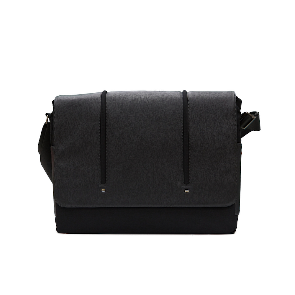 GIORGIO FEDON 1919 15吋皮革尼龍雙色郵差式側背電腦包