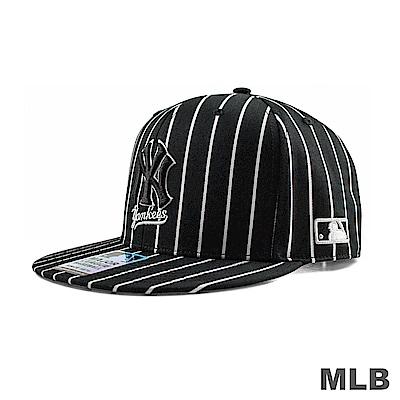 MLB-紐約洋基隊條紋嘻哈帽-黑色