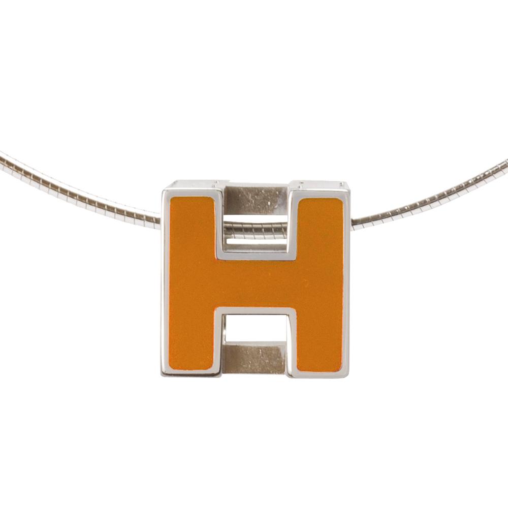 HERMES 經典立體H LOGO簍空方塊項鍊(暗橘X銀)
